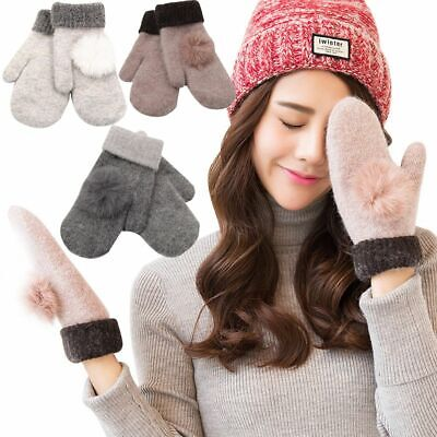 New Soft Lady Cotton Women Gloves Full Finger Winter Warm Wool Knitted Mittens