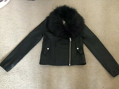 Girls Leather Look Biker Jacket With Detachable  Faux Fur Collar