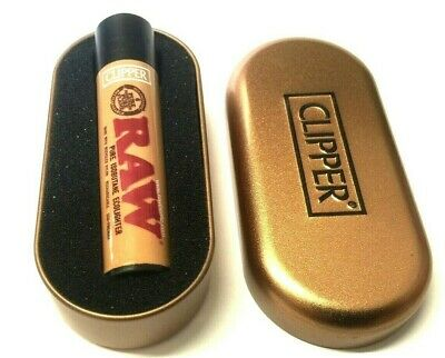 1 x GENUINE CLIPPER RAW GAS REFILLABLE CLASSIC LIGHTER BLACK TOP and Gift Tin