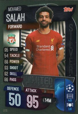 Match Attax 19/20 Mohamed Salah Silver Limited Edition Trading Card - Liverpool