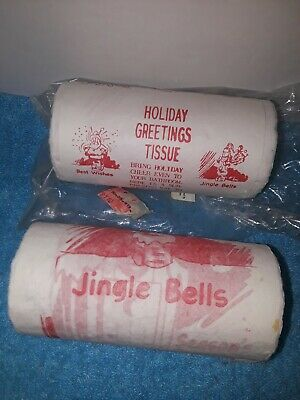 Vintage Novelty Holiday Greetings Tissue Toilet Paper Christmas 1930's 1940 NOS