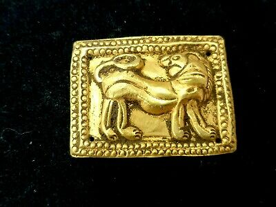 Old Greek Handcraft Solid Gold 22K Hammer Cameo Turning Head Lion Tiger Pendant