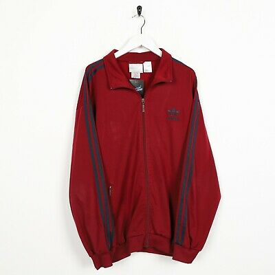 Vintage 80s ADIDAS Back Logo Zip Up Track Top Jacket Burgundy Red | Large L