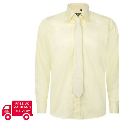 Robelli Plain Cream Yellow Quality Cotton Dress Shirt & Matching Tie Set
