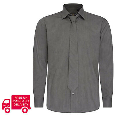 Robelli Plain Space Grey Quality Cotton Dress Shirt & Matching Tie Set