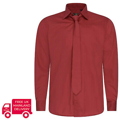 Robelli Plain Burgundy Red Quality Cotton Dress Shirt & Matching Tie Set