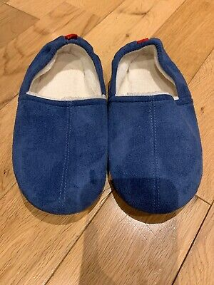 The Little White Company Boys  Blue Suede Slippers Size 1 (33)
