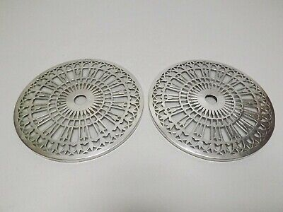 """Pair of Mappin & Webb 6"""" Solid Silver & Glass Coasters Art Deco Birmingham 1924"""