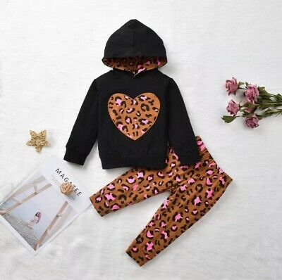 UK Boutique Toddler Kid Baby Girl Leopard Tops T-Shirt Pants 2PCS Outfit Clothes