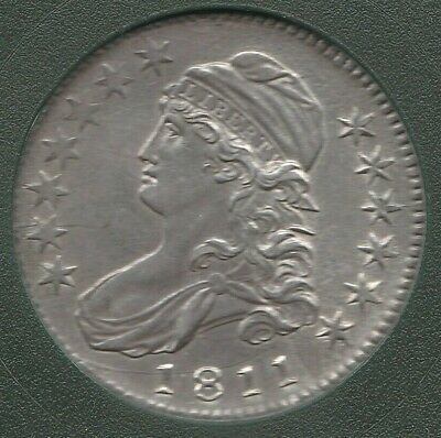 1811 Large 8 O-104 R-1 Capped Bust Silver US Half Dollar