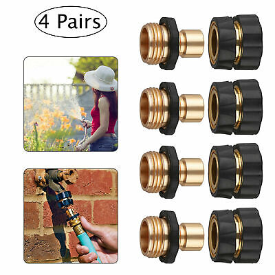 4 Set Garden Water Hose Quick Connect Water Hose Fit Brass Female Male Connector