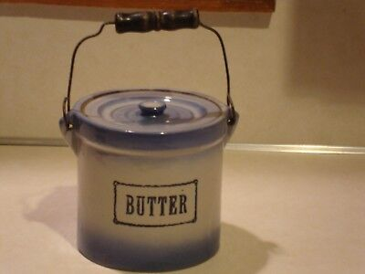 Antique Butter Crock With Lid Stoneware And Wire Bail Wood Handle