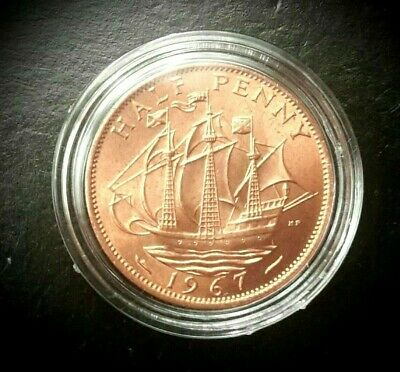 Great Britain 1967 Half Pennys~The Golden Hind~Free Shipping Gem Unc Roll 20