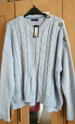 M&S Marks & Spencer Chunky Knit Cotton Rich Jumper Sweater Plus Size 22 BNWT