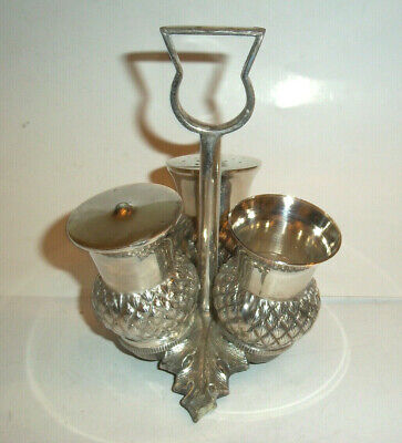 A vintage / Antique Silver Plated scottish Thistle Cruet Set on stand
