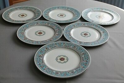 """6 x Wedgwood Turquoise Florentine 10.75"""" Dinner Plates - Superb Condition"""