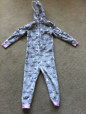 Girls  Grey Pink Lovely Soft  All In One Pj Lounge Nightwear Size 6 Years Racon