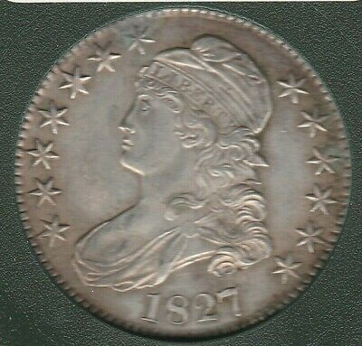 1827 Square Base 2 O-110 R4- Capped Bust Silver US Half Dollar