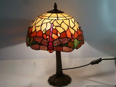 Tiffany Style Stained Glass Shade Table Lamp Working Desk Light Dragon Fly Red