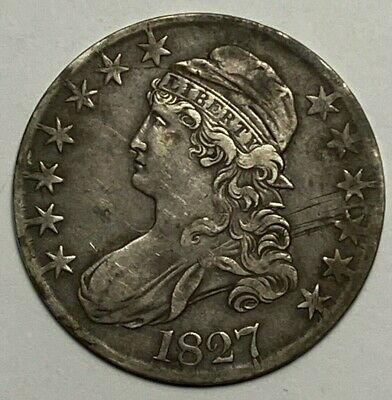 1827 Square Base 2 O-124 R-5+ Capped Bust Silver US Half Dollar