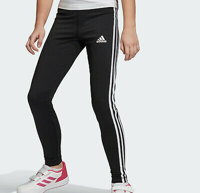 Girls Adidas training leggings black 3 stripes NEW kids 13-14 climalite LAST FEW