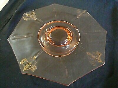 Beautiful Antique 1930s Pink Depression Glass Footed Octagon Etched Cake Plate