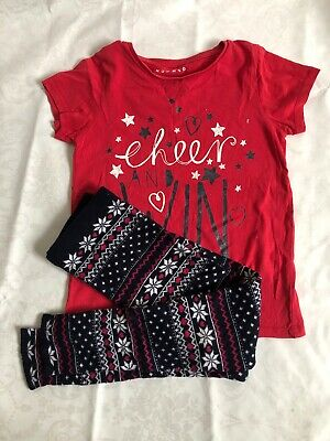 Girls Christmas Leggings And Red T-shirt 9-10 Yrs