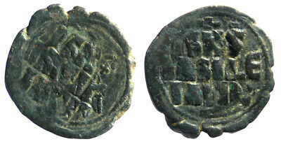 Byzantine Constantine X Anonymous Follis Overstruck at Constantine IX Follis