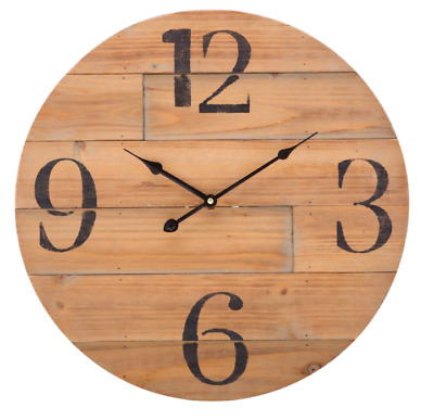 Balance old style Rustic Vintage look actual wood Wall Clock 50cm Wood big digit