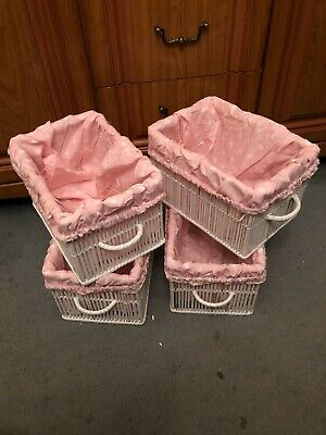 Wicker Baskets With Inserts, Set Of Four, White Finish, Pink Spot Inserts
