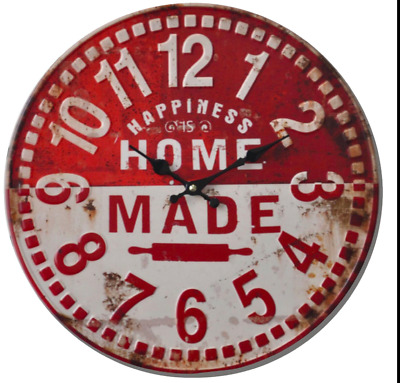 Shabby Chic Vintage old Style 40cm Wall Clock Large numbers Red home made title