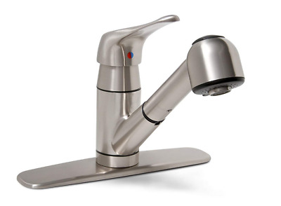 Pull Down Faucet Out Sprayer Brushed Nickel Kitchen Sink Single Hole 1-Handle