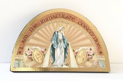 """HOLY FAMILY 7/"""" Wood Plaque HOUSE BLESSING ICON Gold Foil Highlights"""