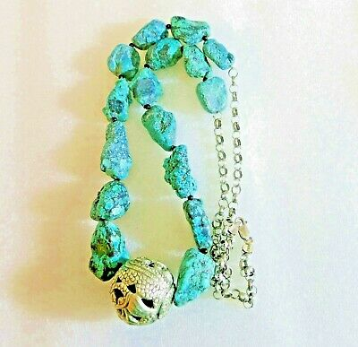 """33"""" VINTAGE ANTIQUE CHINESE CARVED NATURAL TURQUOISE BEADS NECKLACE 146gm 925"""