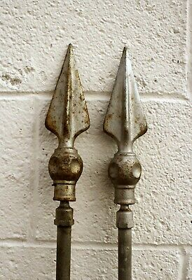 "Pair 8"" Antique Vintage Iron Steel Metal Fence Finial Spike Picket Spear Head"