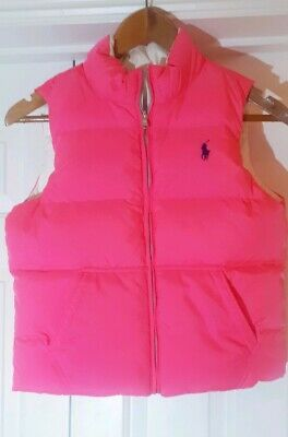 Pink White Reversible Polo Ralph Lauren Body Warmer Gilet Large 12-14 EX Cond