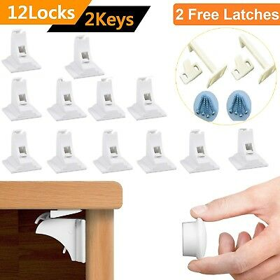 12 Invisible Magnetic Baby Child Pet Proof Cupboard Door SafetyLock+2 FREE Latch