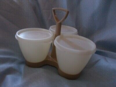 TUPPERWARE Vintage Condiment Containers with Caddy Used