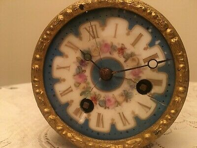 French 8 Day Striking Clock Movement Sevres Porcelain Dial for Restoretion...