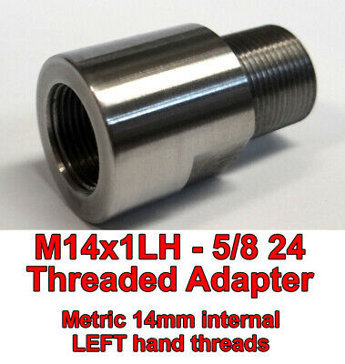 M14x1LH ID to 5/8-24 OD Threaded Adapter - Stainless Steel - Free Shipping !