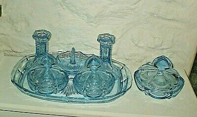 Art Deco - Lovely Items - 7 Piece Cornflower Blue Glass Dressing Table Set