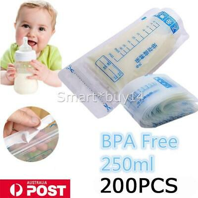 200pcs Pre-Sterilised BPA FREE Baby Breast Milk Storage Bags Pouches 250ML