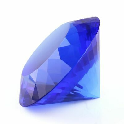 BLUE CRYSTAL CLEAR PAPERWEIGHT CUT GLASS GIANT DIAMOND DECOR 80mm