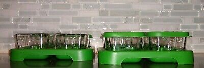 Green Sprouts 2 oz Clear Glass Jars Baby Food Storage Tray 8 jars, 6 lids