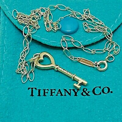 "Tiffany & Co Heart Key Charm Pendant Necklace 16"" oval chain Sterling Silver 925"