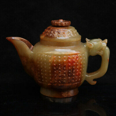 Chinese Exquisite Hand-carved Hetian jade Teapot