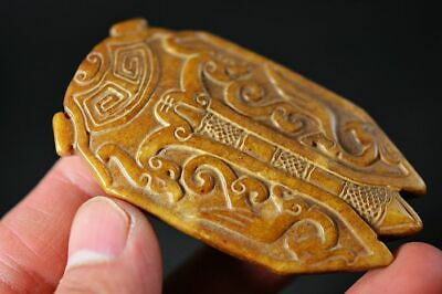 Unique Chinese Natural Old Jade Hand Carved *Dragon/Cicada* Pendant H18