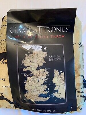 Game Of Thrones HBO Map Of Westeros Essos Throw Blanket You Win Or Die New