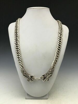 Asian Antiques old China Tibet silver handmade double dragon fine necklace