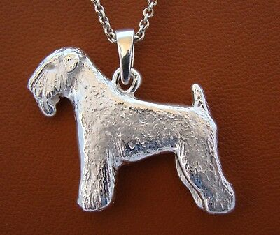Large Sterling Silver Wheaten Terrier Standing Study Pendant